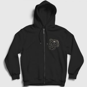 3D Kaplan Fermuarlı Kapşonlu Sweatshirt siyah