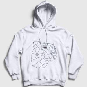3D Kaplan Kapşonlu Sweatshirt beyaz