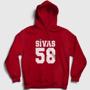 58 Sivas Kapşonlu Sweatshirt kırmızı