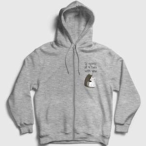 9 Can Fermuarlı Kapşonlu Sweatshirt gri kırçıllı