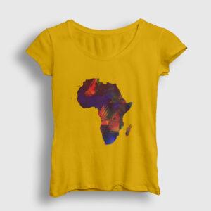 Afrika Kıta Kadın Tişört sarı
