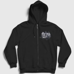 Ağaçlar ve Ev Fermuarlı Kapşonlu Sweatshirt siyah