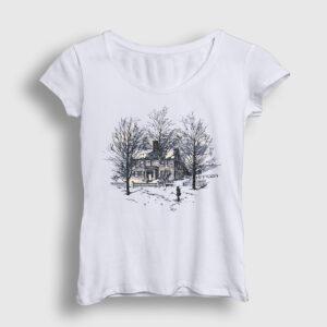 Ağaçlar ve Ev Kadın Tişört beyaz