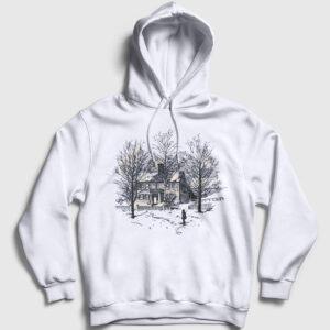 Ağaçlar ve Ev Kapşonlu Sweatshirt beyaz