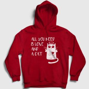 All You Need is Love and a Cat Kapşonlu Sweatshirt kırmızı
