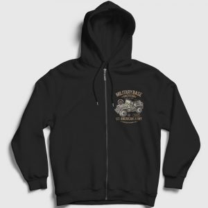 American Army Fermuarlı Kapşonlu Sweatshirt siyah