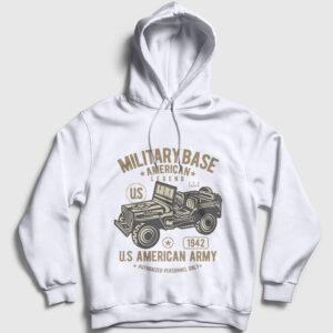 American Army Kapşonlu Sweatshirt beyaz