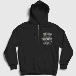 America's Highway Fermuarlı Kapşonlu Sweatshirt siyah