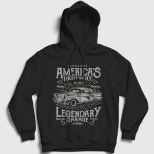 America's Highway Kapşonlu Sweatshirt siyah