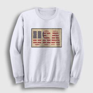 Amerikan Bayrağı Sweatshirt beyaz