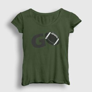 Amerikan Futbolu Go Kadın Tişört haki