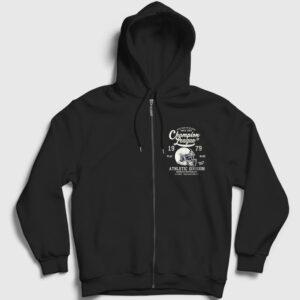 Amerikan Futbolu Şampiyonlar Ligi Fermuarlı Kapşonlu Sweatshirt siyah