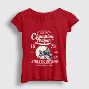Amerikan Futbolu Şampiyonlar Ligi Kadın Tişört kırmızı