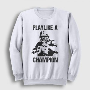 Amerikan Futbolu Sweatshirt - Play Like a Champion beyaz