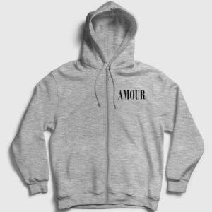 Amour Fermuarlı Kapşonlu Sweatshirt gri kırçıllı