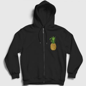 Ananaslı Fermuarlı Kapşonlu Sweatshirt siyah