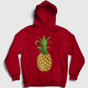 Ananaslı Kapşonlu Sweatshirt kırmızı