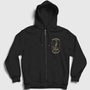 Anchor Bird Fermuarlı Kapşonlu Sweatshirt siyah