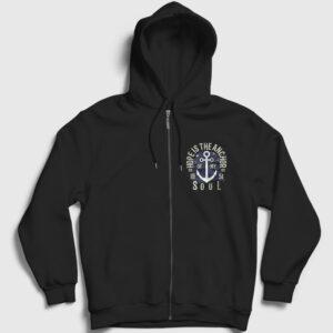 Anchor of my Soul Fermuarlı Kapşonlu Sweatshirt siyah