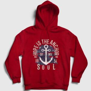 Anchor of my Soul Kapşonlu Sweatshirt kırmızı