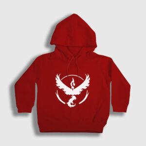 Anka Kuşu Çocuk Kapşonlu Sweatshirt kırmızı