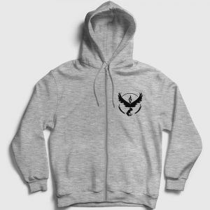 Anka Kuşu Fermuarlı Kapşonlu Sweatshirt gri-kircilli