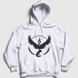 Anka Kuşu Kapşonlu Sweatshirt beyaz