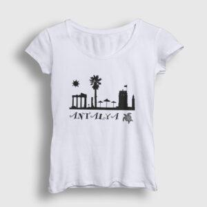 Antalya Kadın Tişört beyaz