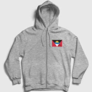 Antigua ve Barbuda Bayrağı Fermuarlı Kapşonlu Sweatshirt gri kırçıllı