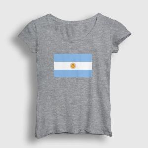 Arjantin Bayrağı Kadın Tişört gri kırçıllı