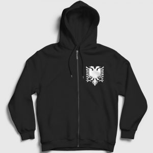 Arnavutluk Bayrağı Fermuarlı Kapşonlu Sweatshirt siyah
