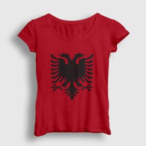 Arnavutluk Bayrağı Kadın Tişört kırmızı