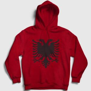 Arnavutluk Bayrağı Kapşonlu Sweatshirt kırmızı