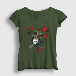 Asker ve Güller Kadın Tişört haki