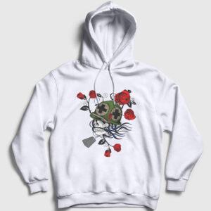 Asker ve Güller Kapşonlu Sweatshirt beyaz
