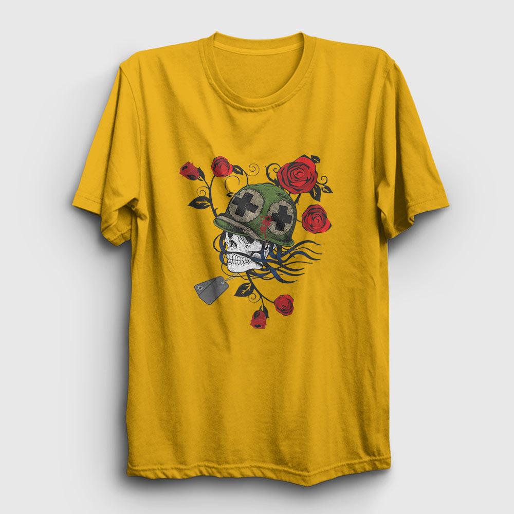 asker ve güller tişört sarı