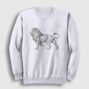Aslan Çizim Sweatshirt beyaz