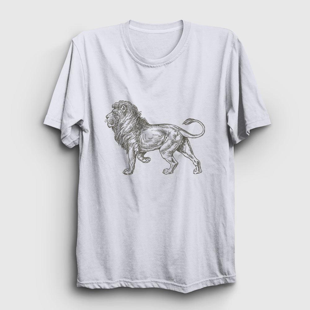 aslan çizim tişört beyaz