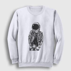 Astronaut Punkster Sweatshirt beyaz