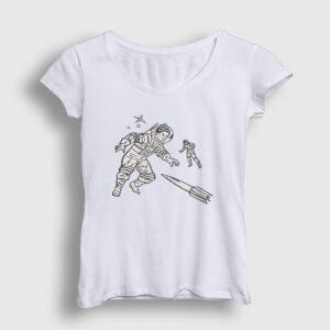 Astronauts Kadın Tişört beyaz