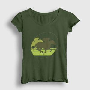 At Yarışı Kadın Tişört haki