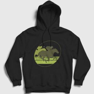 At Yarışı Kapşonlu Sweatshirt siyah