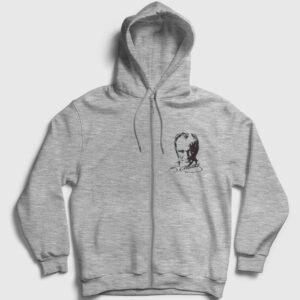Atatürk İmza Fermuarlı Kapşonlu Sweatshirt gri kırçıllı