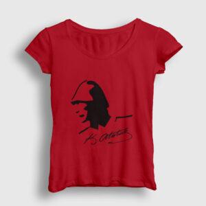 Atatürk Kadın Tişört kırmızı