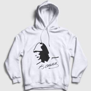 Atatürk Kapşonlu Sweatshirt beyaz