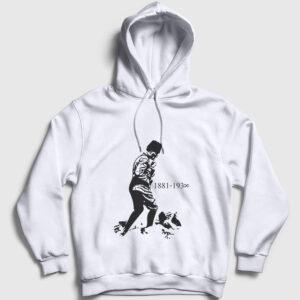 Atatürk Kocatepe Kapşonlu Sweatshirt beyaz