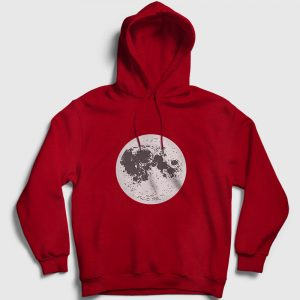 Ay Kapşonlu Sweatshirt kırmızı