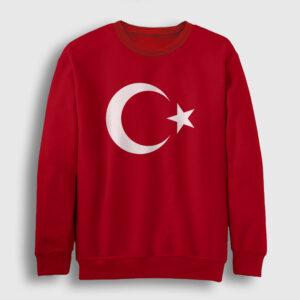 Ay Yıldızlı Sweatshirt kırmızı