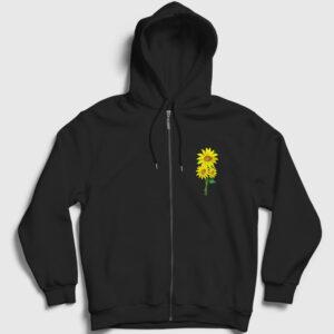 Ayçiçeği Fermuarlı Kapşonlu Sweatshirt siyah