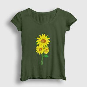 Ayçiçeği Kadın Tişört haki
